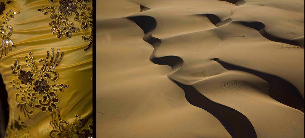Imagem do Projeto Natureza em Festa: à esquerda detalhe da indumentária do Maracatu Rural e à direita, areias de dunas do litoral brasileiro