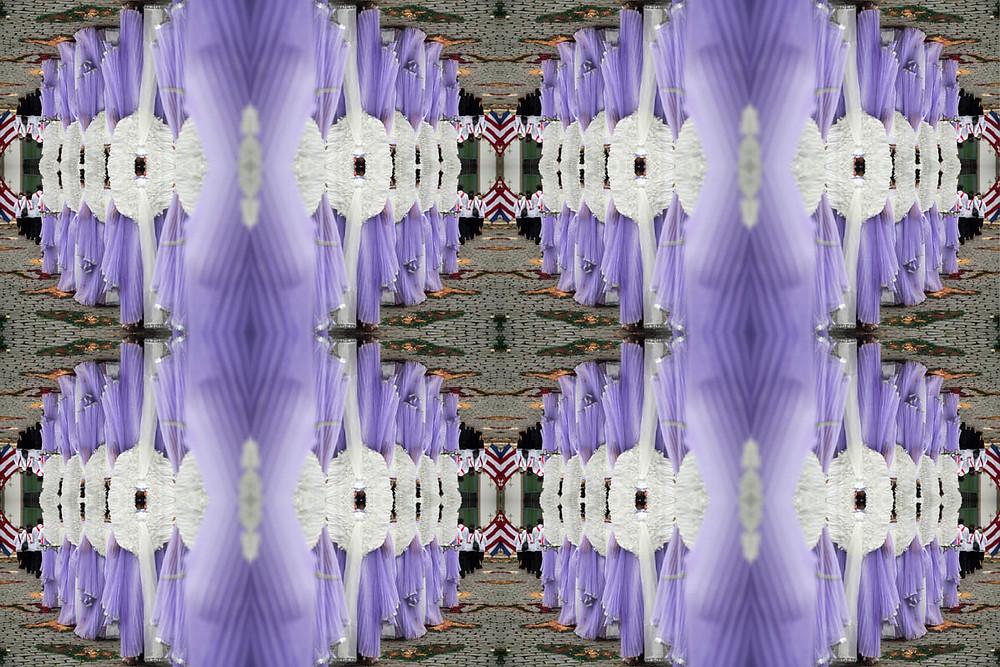 Caleidoscópio com imagem dos anjos na procissão de Semana Santa de Ouro Preto repetida 16 vezes