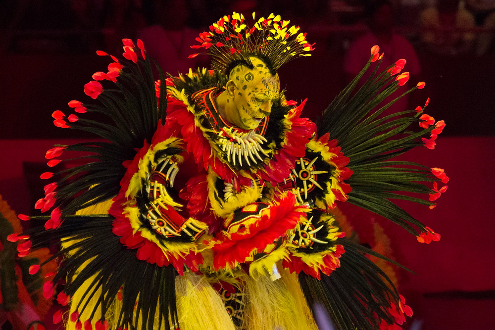 Pajé do boi Garantido durante apresentação do Boi Bumbá de Parintins