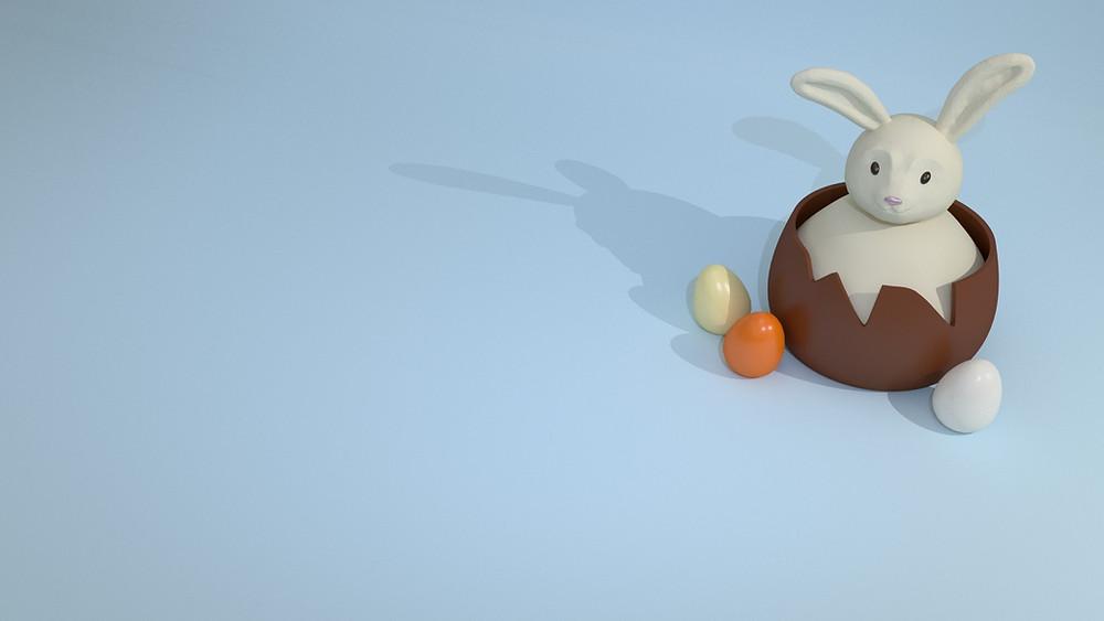 simbologia de ovos e coelhos de chocolate na Páscoa