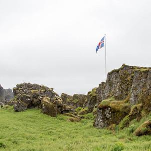 Þingvellir e a bandeira da Islandia