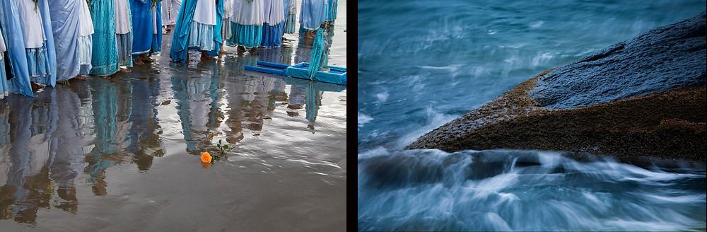 Imagem do Projeto Natureza em Festa: à esquerda fiéis na Festa de Iemanjá e à direita, o mar do litoral brasileiro