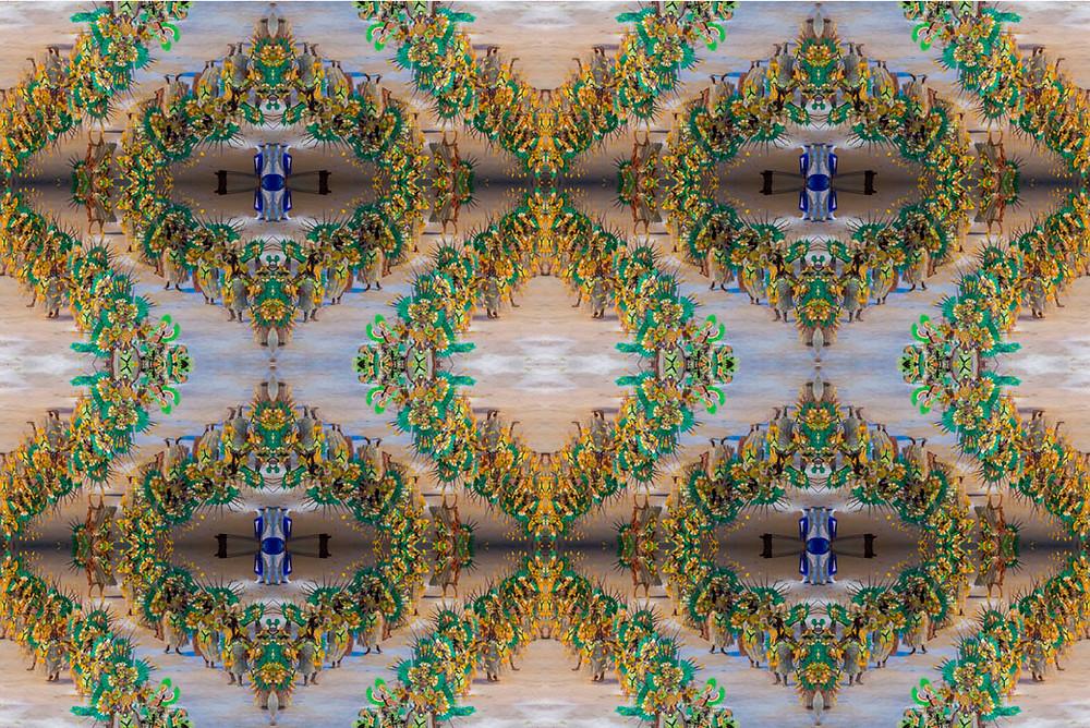 Caleidoscópio com imagem do Boi Caprichoso da Festa do Boi Bumbá de Parintins repetida 16 vezes