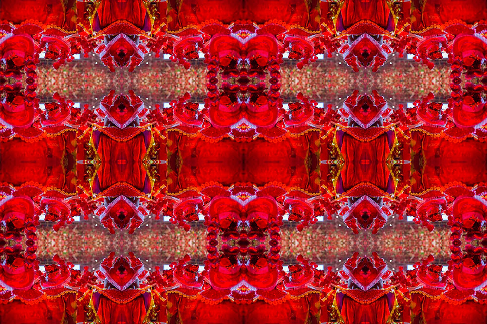 Caleidoscópio com imagem do Boi Garantido da Festa do Boi Bumbá de Parintins repetida 16 vezes