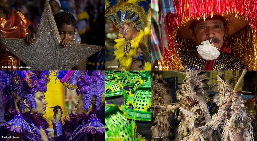 Imagens de várias festas de Carnaval diferentes
