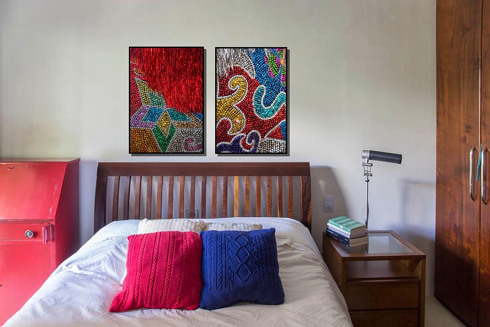 Fotos das roupas dos caboclos de Lança do Maracatu Rural (PE) no meu quarto