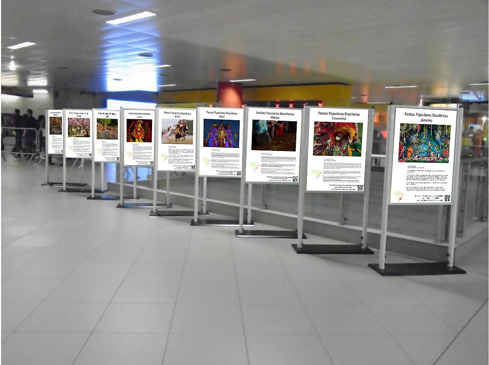 Exposição Festas Brasileiras na estação do metrô. Ilustração que mostra como os expositores ficarão dispostos