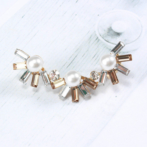 Rhinestone Colorburst Earcuff with Pearls