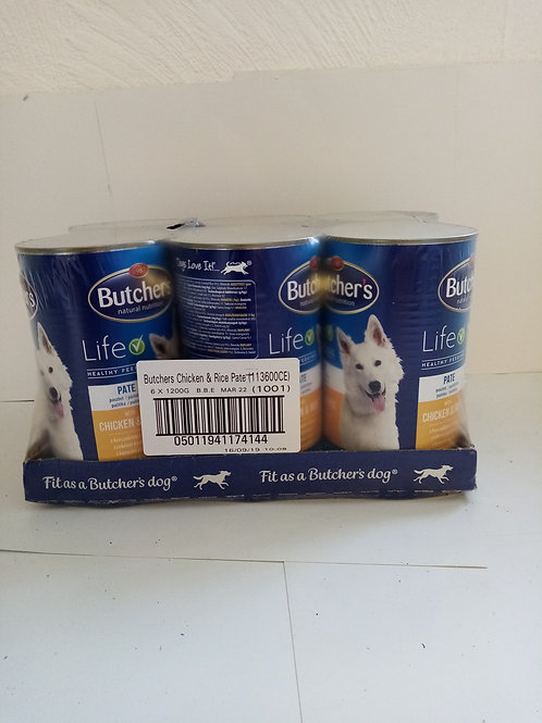 Butchers life chicken and rice case of 6 x 1200g cans