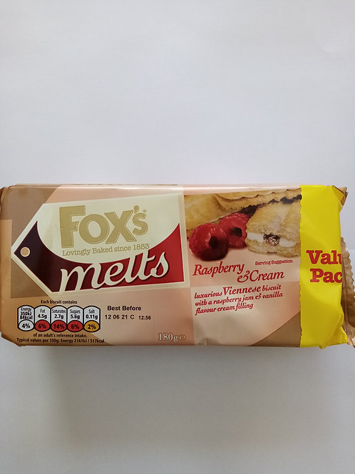 Foxes melts 180g raspberry and cream