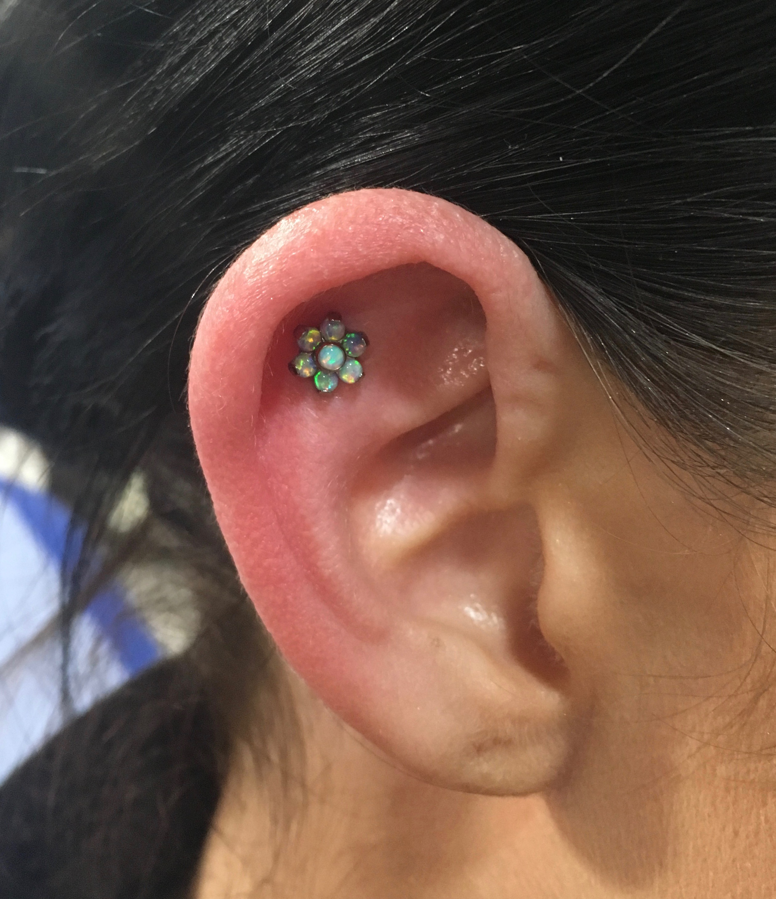 helix with qualiti opal flower
