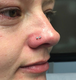 double nostril with neometal swarovskis.
