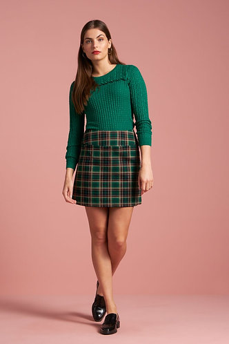 OLIVIA SKIRT Rodeo Check Peacock Green