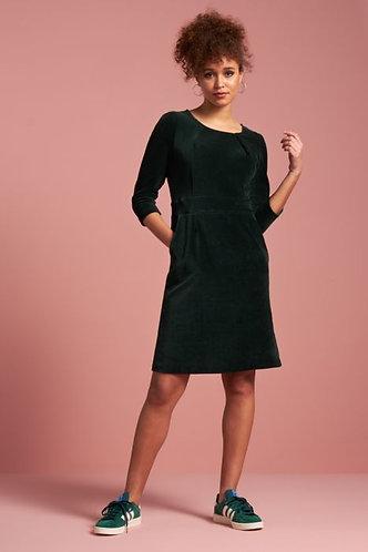 MONA DRESS RIB VELOURS Pine Green