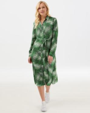 Elspeth Shady Palm Midi Shirt Dress