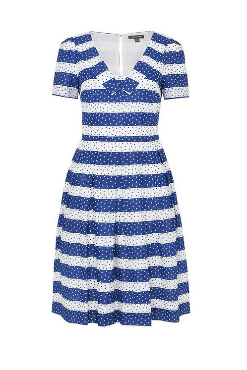 MATILDA DRESS-Navy Spot and Stripes