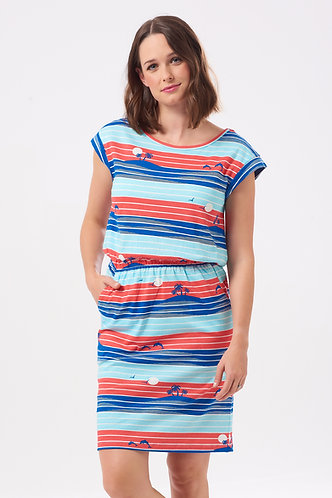 KATE TROPICAL ISLAND STRIPE Dress