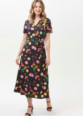 Nettie Fruit Punch Shirt Midi Dress