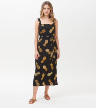 Elva Pineapple Batik Midi Slip Dress