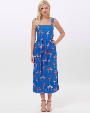 Elva Bermuda Flamingo Batik Midi Dress