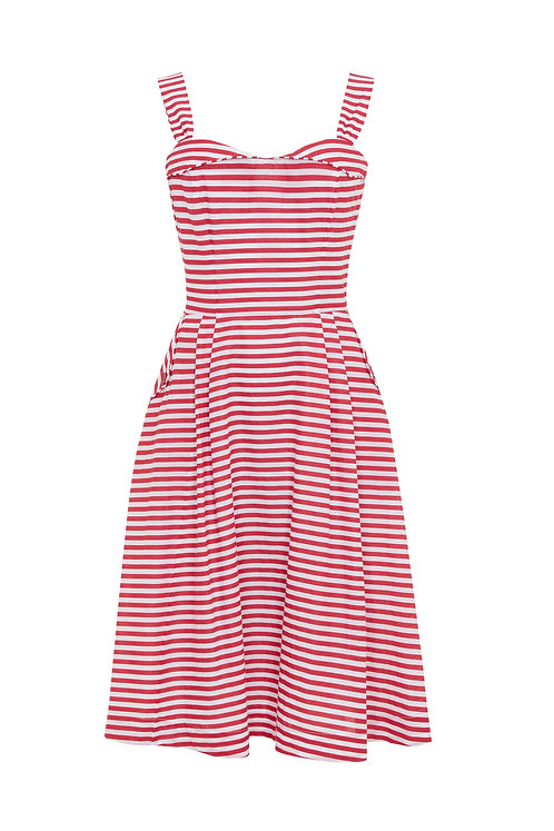 PIPPA DRESS-Red and White stripes