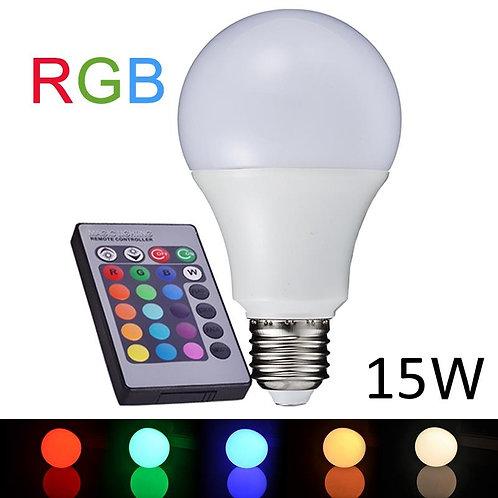 RGB LED лампа с цоколем Е27 с пультом ДУ