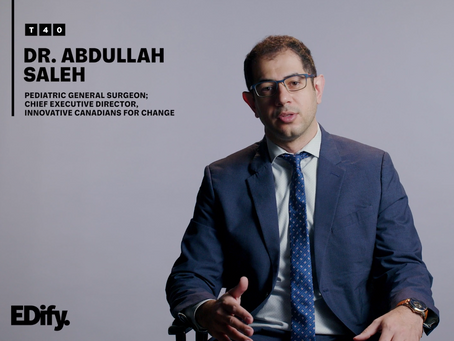 Chief Executive Director of ICChange Dr. Abdullah Saleh, is Honored with Edmonton's Top 40 Under 40