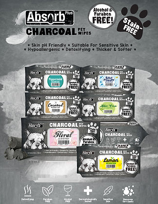 Absorb Plus Charcoal Pet Wipes