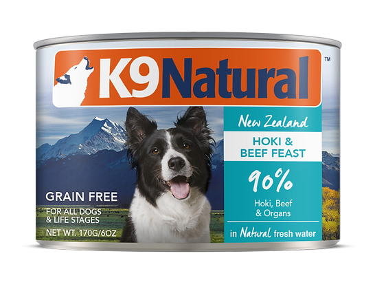 K9 Natural Hoki & Beef Canned 170g