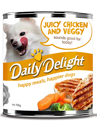 Daily Delight Juicy Chicken and Veggy Dog Canned Food 180/700g
