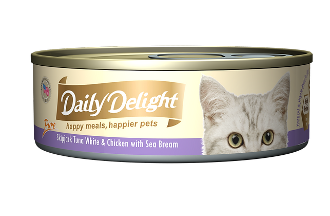 Daily Delight PURE Skipjack Tuna White & Chicken with Sea Bream Cat Canned Food
