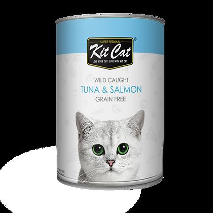 Kit Cat Atlantic Tuna With Wild Salmon Canned Cat Food 400g