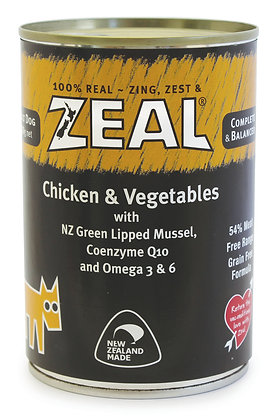 Zeal Chicken & Vegetables Grain Free Dog Canned Food 390g