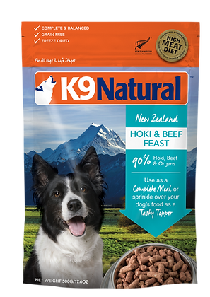 K9 Natural Hoki & Beef Feast Freeze Dried Dog Food 500g