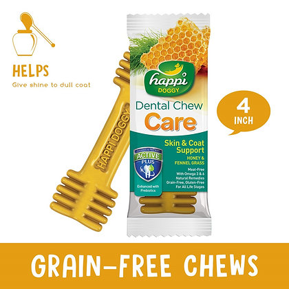 """Happi Doggy Dental Chew Care Fennel Grass & Honey (Skin & Coat Support) 4"""""""