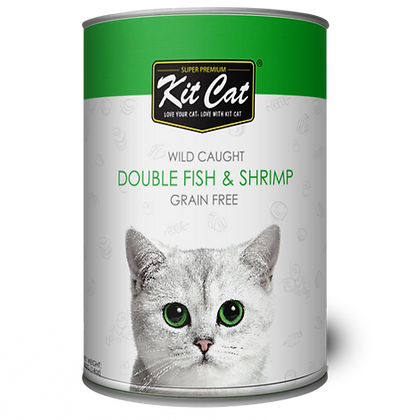 Kit Cat Double Fish With Shrimp Canned Cat Food 400g