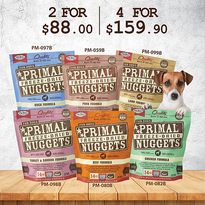 [4 FOR $159.90] Primal Freeze Dried Nuggets (Dog) 14oz