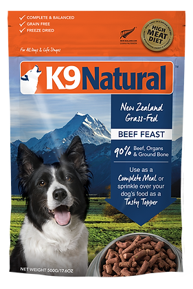 K9 Natural Beef Feast Freeze Dried Dog Food 500g