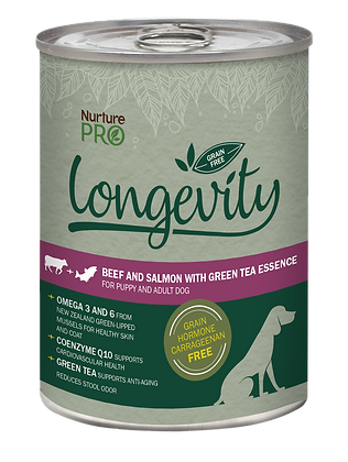 Nurture Pro Longevity Grain Free Beef &Salmon with GreenTea Dog Canned Food 375g