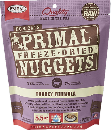 Primal Freeze Dried Feline Turkey Nuggets (Cat) 5.5oz