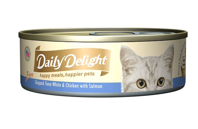 Daily Delight PURE Skipjack Tuna White & Chicken with Salmon Cat Canned Food