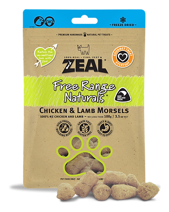 Zeal Chicken & Lamb Morsels Freeze Dried Dog Treats 100g