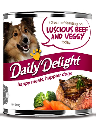 Daily Delight Luscious Beef and Veggy Dog Canned Food 180/700g