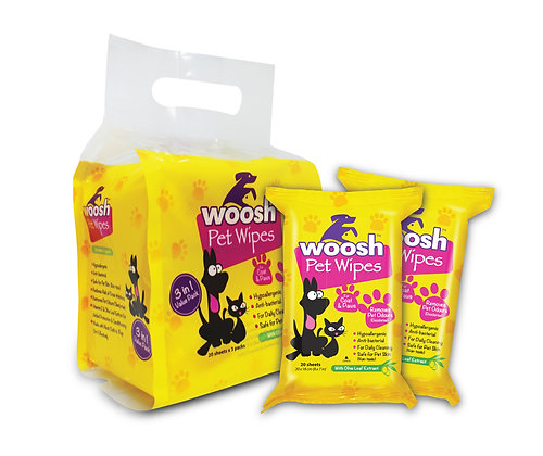 Woosh Pet Wipes Value Pack 60 sheets