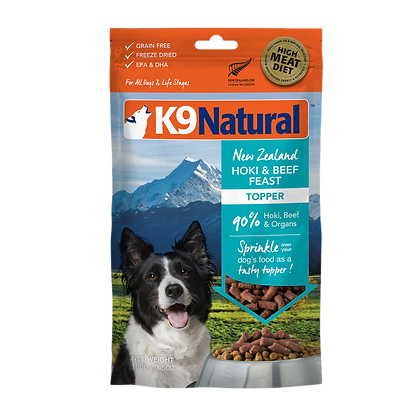 K9 Natural Hoki & Beef Feast Freeze Dried Toppers 100g