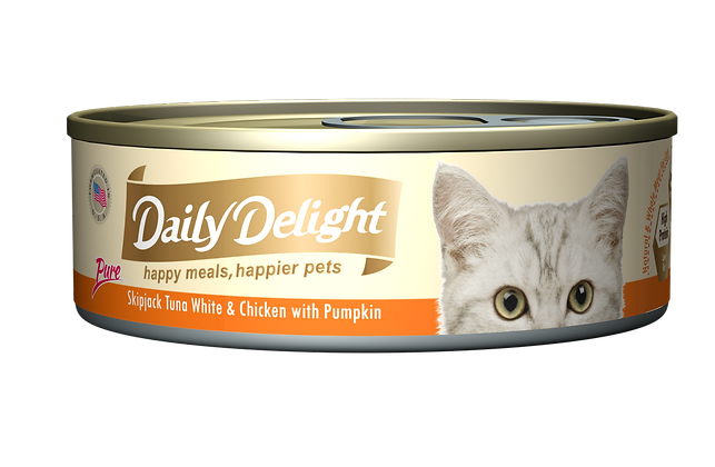 Daily Delight PURE Skipjack Tuna White & Chicken with Pumpkin Cat Canned Food