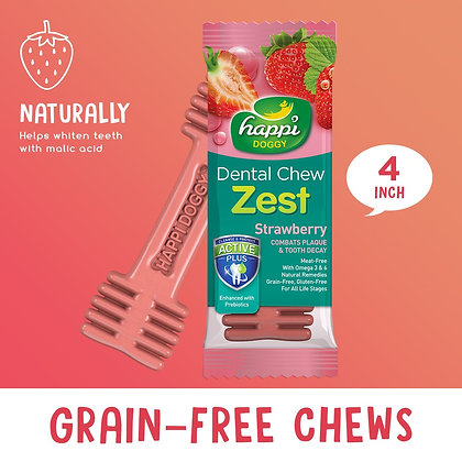 Happi Doggy Dental Chew Zest Strawberry 4""