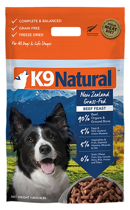K9 Natural Beef Feast Freeze Dried Dog Food 1.8kg
