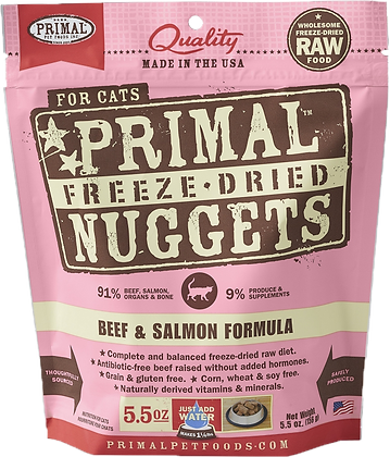 Primal Freeze Dried Feline Beef & Salmon Nuggets (Cat) 5.5oz