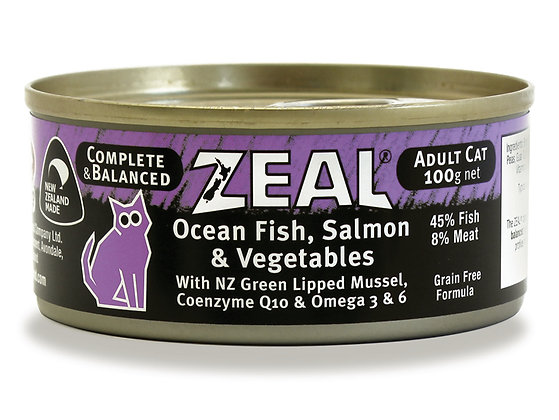 Zeal Ocean Fish, Salmon & Vegetables Grain Free Cat Canned Food 100g